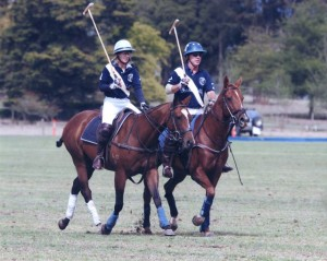 Nicole on Wasabi and Michael on Chelsea at Yarra Valley Polo Tournament